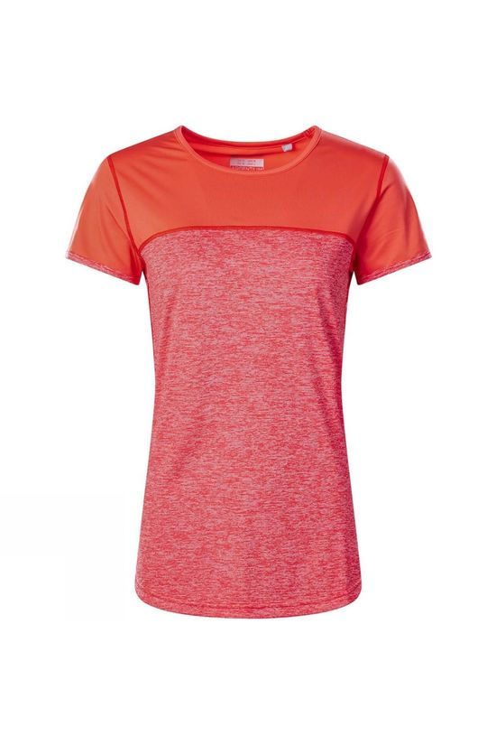 Berghaus Womens Voyager Tech Tee Short Sleeve Crew T-Shirt Volcano Marl/Hot Coral