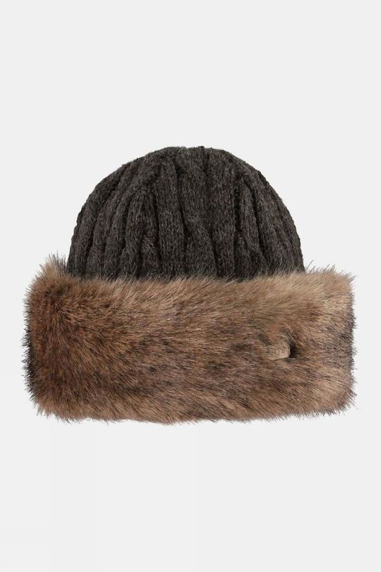 Barts Womens Fur Cable Bandhat Heather Brown