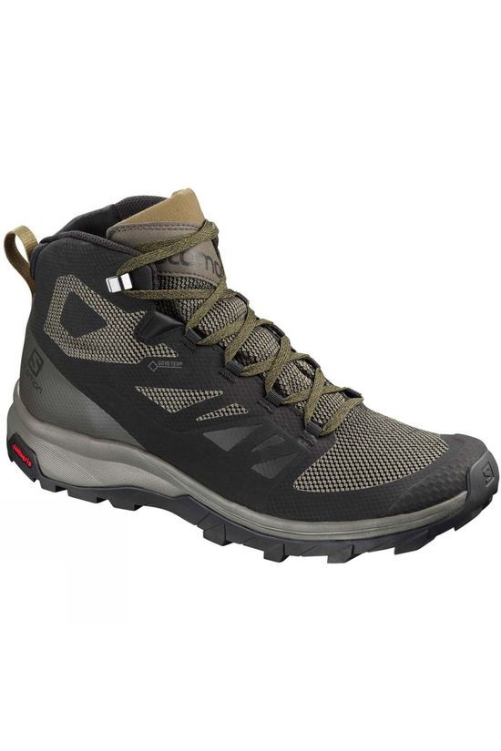 Salomon Mens Outline Mid GTX Boot Black/Beluga/Capers