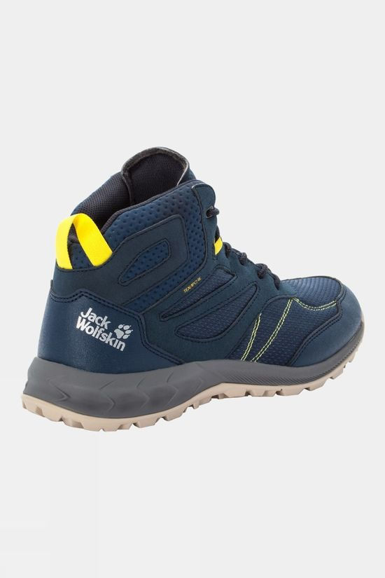 Jack Wolfskin Mens Woodland Texapore Mid Boot Dark Blue / Lime
