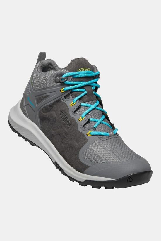 Keen Womens Explore Mid Waterproof Boot Steel Grey/Bright Turquoise