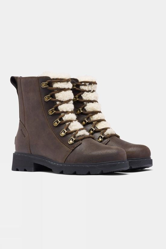 Sorel Womens Lennox Lace Cozy Boot Blackened Brown