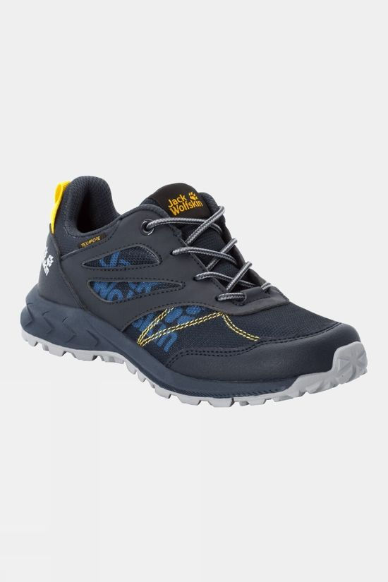Jack Wolfskin Childrens Woodland Texapore Low Dark Blue / Yellow
