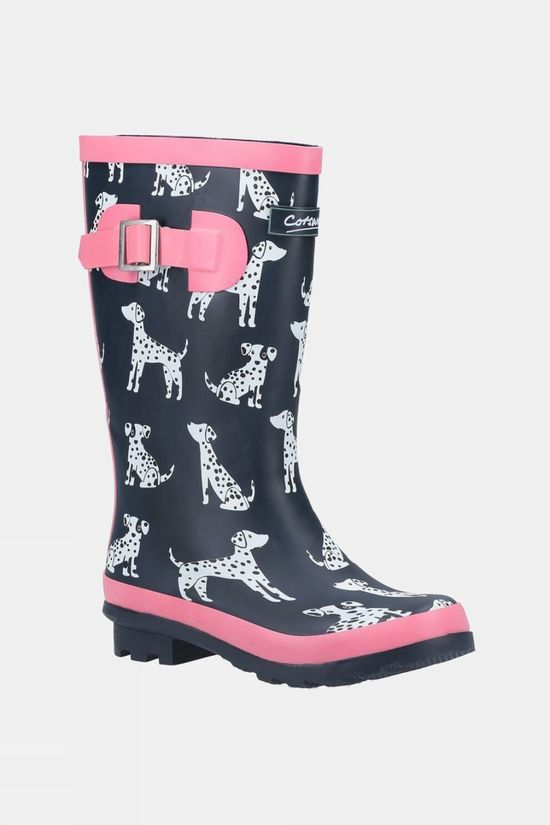 Cotswold Junior Spot Wellington Boots Navy