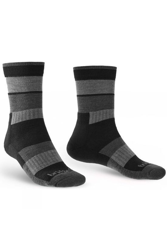 Bridgedale Mens Merino Banded Trail Sock Black/Charcoal
