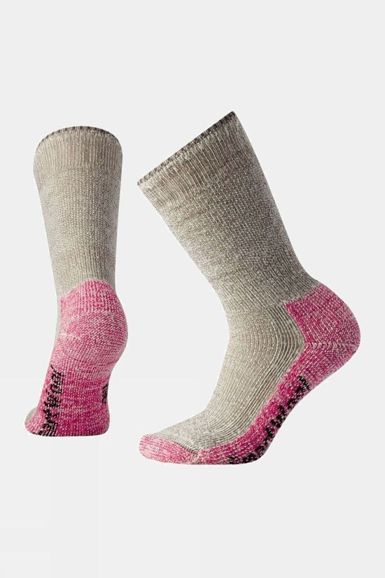 SmartWool Womens Mountaineering Extra Heavy Crew Sock Taupe / Bright Pink