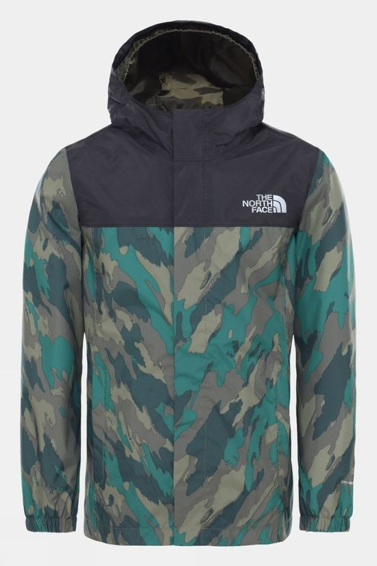 The North Face Boy's Resolve Reflective Jacket Evergreen Mountain Camo Print