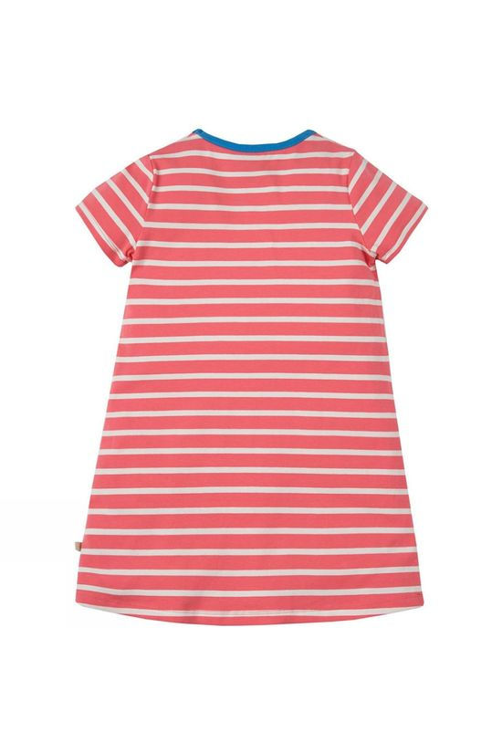 Frugi Girls Paige Pocket Dress Coral Chunky Breton/Clouds SS19