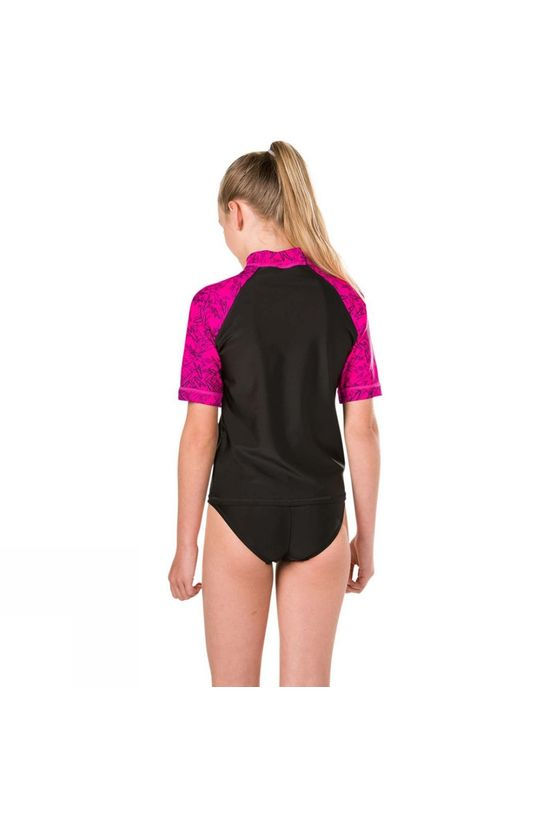 Speedo Girls Boom Rash Top Black/Pink