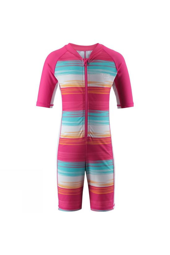 Reima Girls Galapagos Swim Suit Aqua/Pink Stripe
