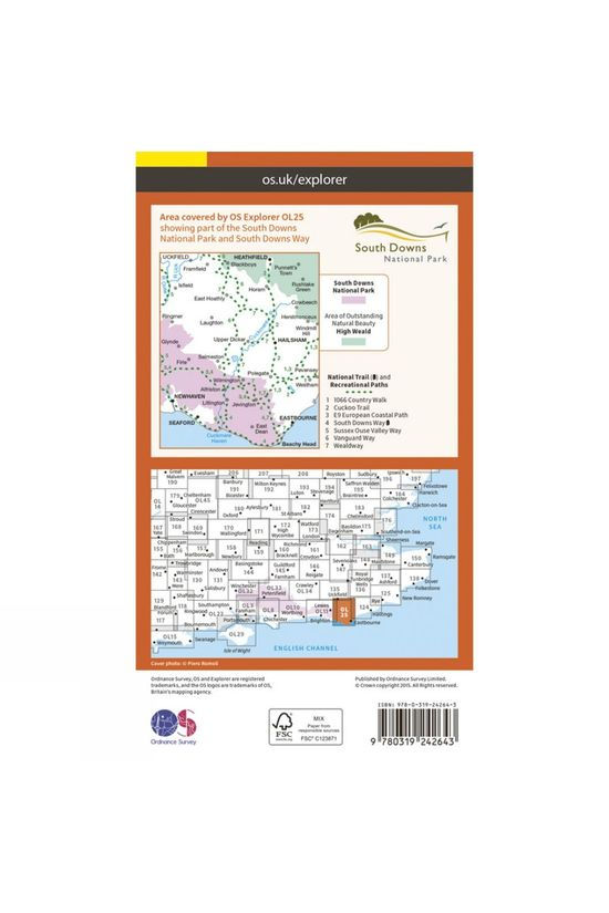 Ordnance Survey Explorer Map OL25 Eastbourne and Beachy Head V15