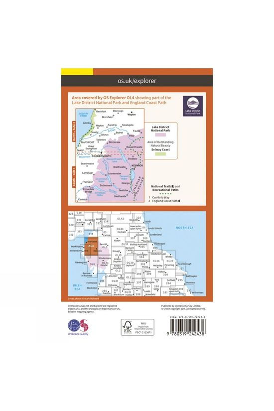 Ordnance Survey Explorer Map OL4 The Lake District - North-Western Area V15