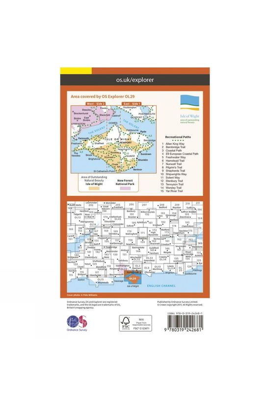 Ordnance Survey Explorer Map OL29 Isle of Wight V15