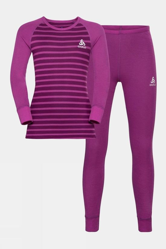Odlo Kids Active Warm Eco Baselayer Set Hyacinth Violet - Charisma - Stripes