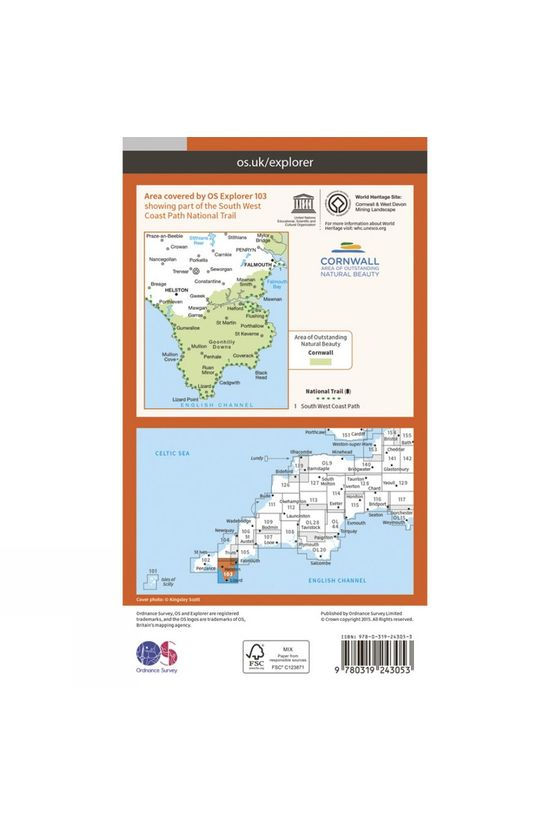 Ordnance Survey Explorer Map 103 The Lizard V15