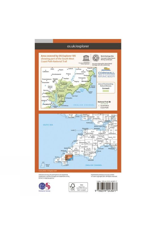 Ordnance Survey Explorer Map 105 Falmouth and Mevagissey V15
