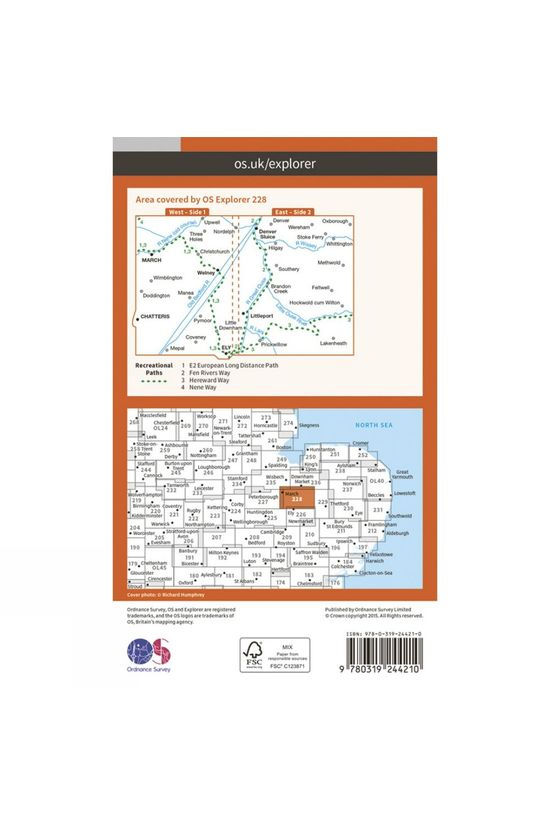 Ordnance Survey Explorer Map 228 March and Ely V15
