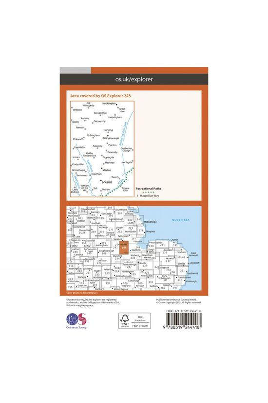 Ordnance Survey Explorer Map 248 Bourne and Heckington V15