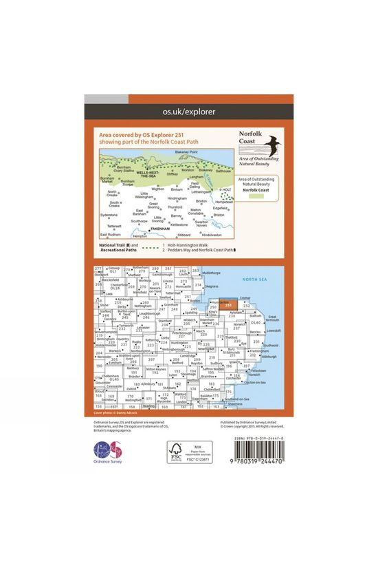 Ordnance Survey Explorer Map 251 Norfolk Coast Central V15