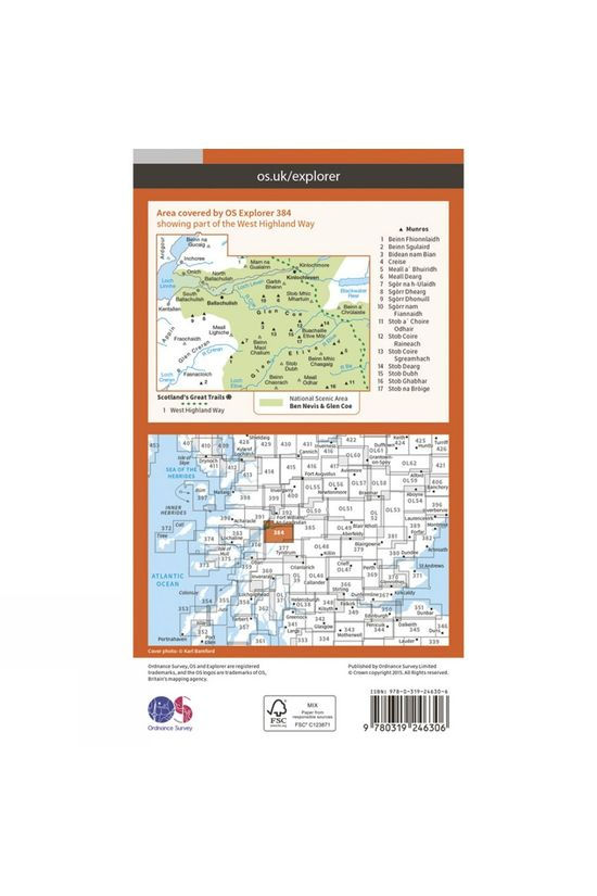 Ordnance Survey Explorer Map 384 Glen Coe and Glen Etive V15
