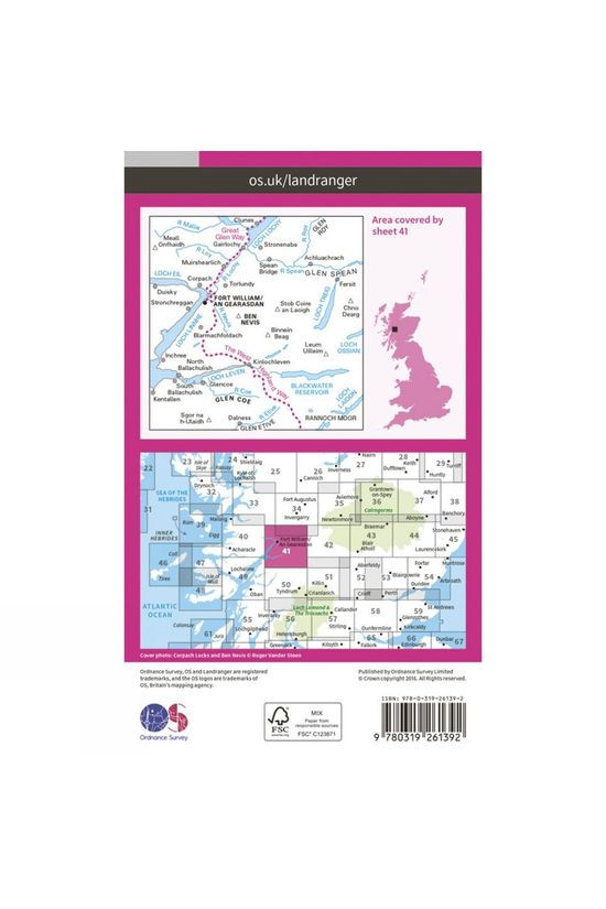 Ordnance Survey Landranger Map 41 Ben Nevis, Fort William and Glen Coe V16