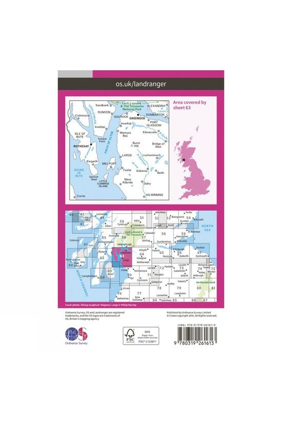 Ordnance Survey Landranger Map 63 Firth of Clyde V16