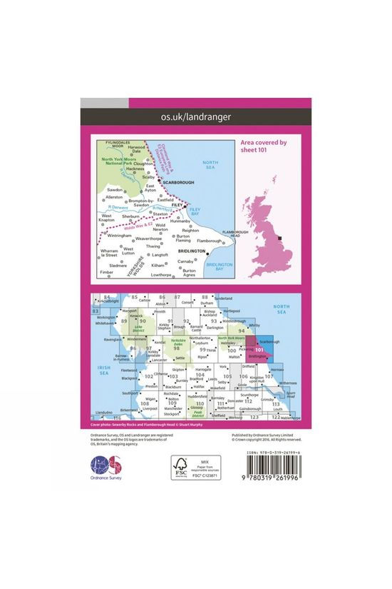 Ordnance Survey Landranger Map 101 Scarborough V16