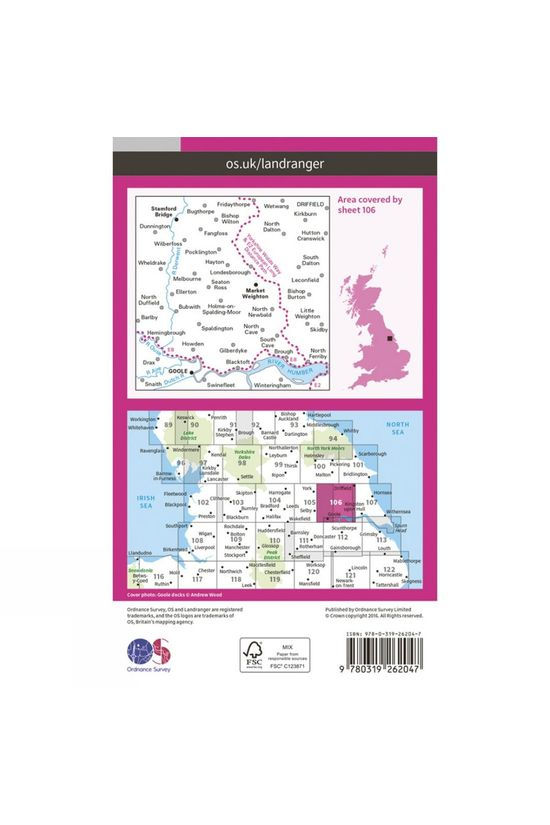 Ordnance Survey Landranger Map 106 Market Weighton V16