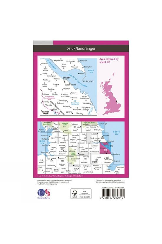 Ordnance Survey Landranger Map 113 Grimsby V16