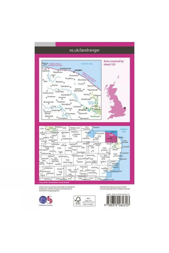 Ordnance Survey Landranger Map 133 North East Norfolk V16