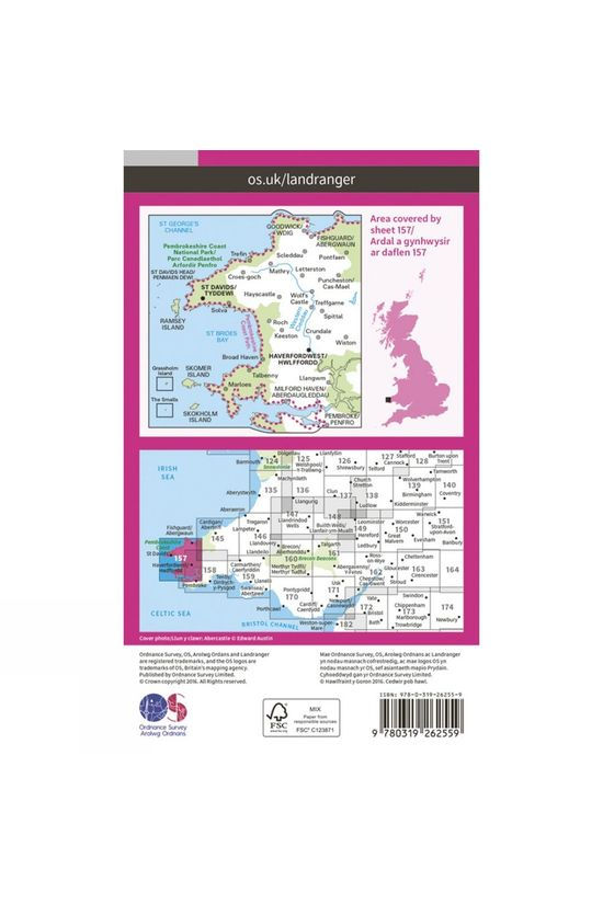 Ordnance Survey Landranger Map 157 St David's and Haverfordwest V16