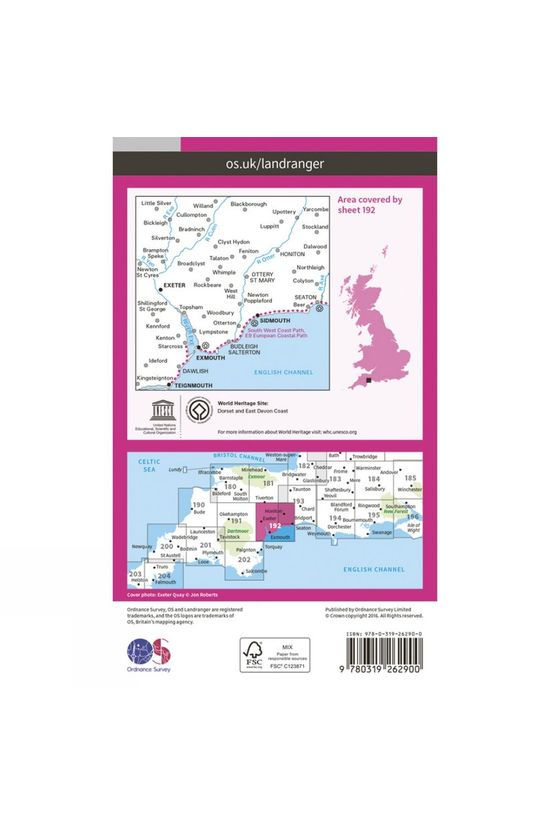 Ordnance Survey Landranger Map 192 Exeter and Sidmouth V16
