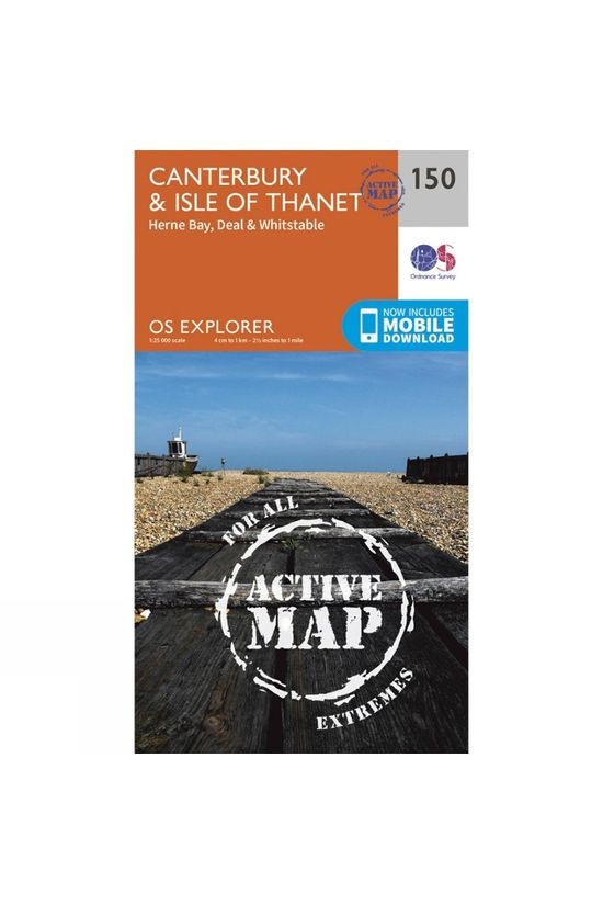 Ordnance Survey Active Explorer Map 150 Canterbury and the Isle of Thanet V15