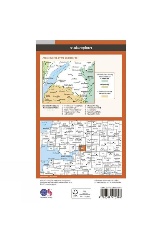 Ordnance Survey Active Explorer Map 167 Thornbury, Dursley and Yate V15