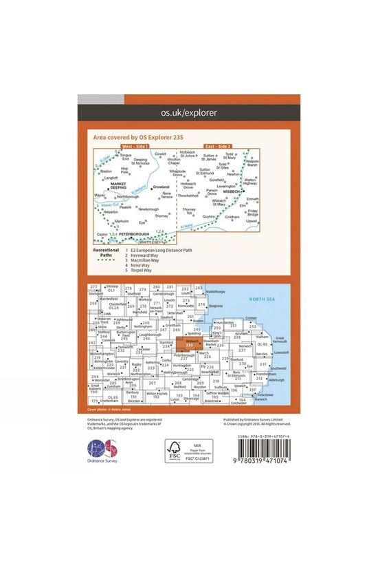 Ordnance Survey Active Explorer Map 235 Wisbech and Peterborough North V15