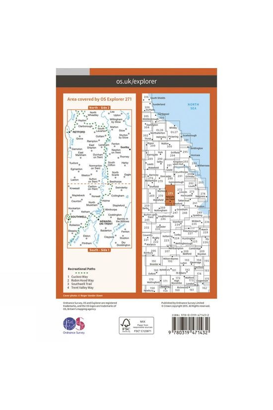 Ordnance Survey Active Explorer Map 271 Newark-on-Trent V15