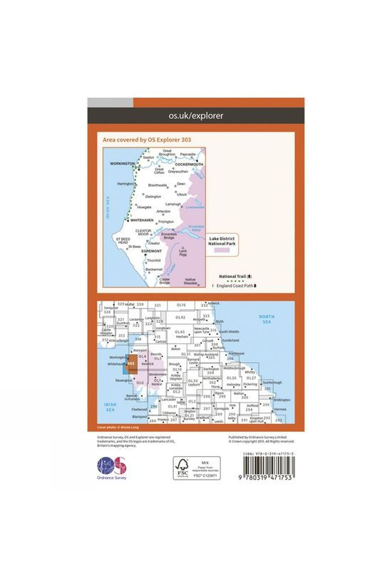 Ordnance Survey Active Explorer Map 303 Whitehaven and Workington V15