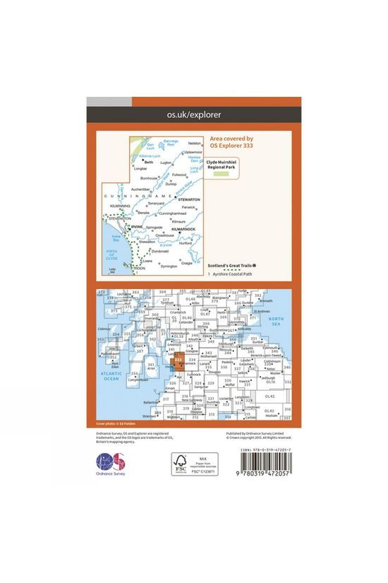 Ordnance Survey Active Explorer Map 333 Kilmarnock and Irvine V15
