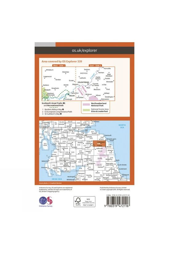 Ordnance Survey Active Explorer Map 339 Kelso, Coldstream and Lower Tweed Valley V15