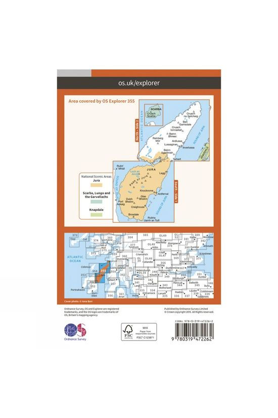 Ordnance Survey Active Explorer Map 355 Jura and Scarba V15