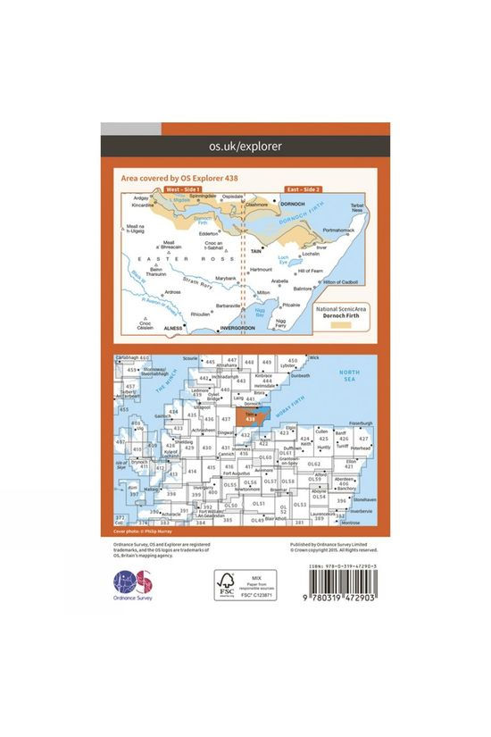 Ordnance Survey Active Explorer Map 438 Dornoch and Tain V15