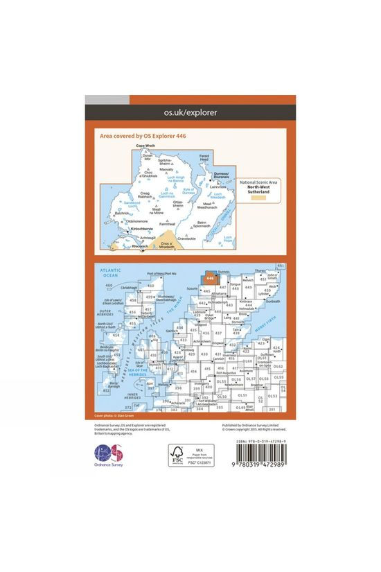 Ordnance Survey Active Explorer Map 446 Durness and Cape Wrath V15