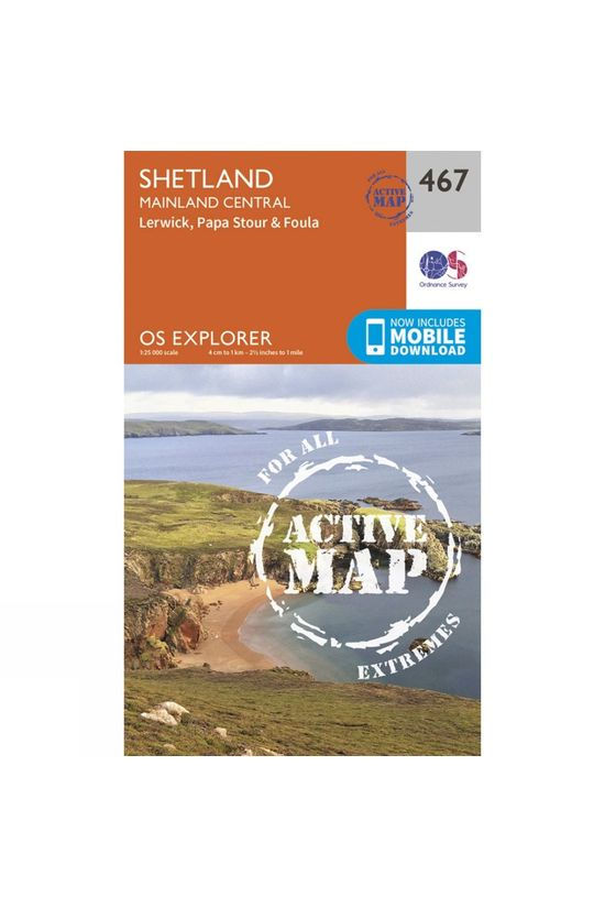 Ordnance Survey Active Explorer Map 467 Shetland - Mainland Central V15