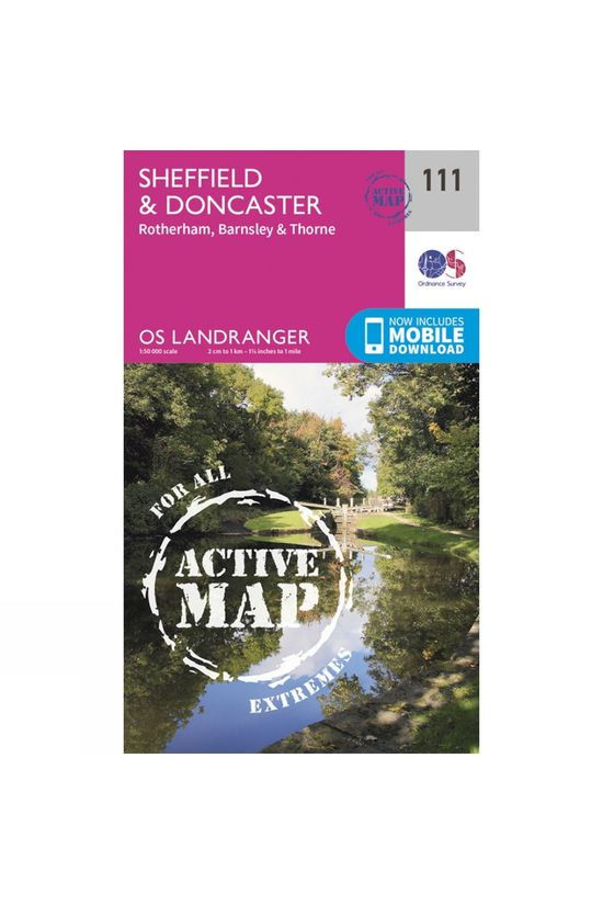 Ordnance Survey Active Landranger Map 111 Sheffield and Doncaster V16