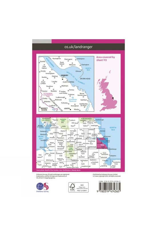 Ordnance Survey Active Landranger Map 113 Grimsby V16