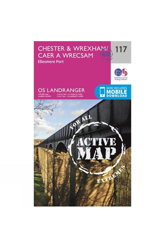 Ordnance Survey Active Landranger Map 117 Chester and Wrexham V16