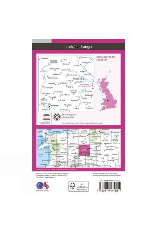 Ordnance Survey Active Landranger Map 127 Stafford and Telford V16