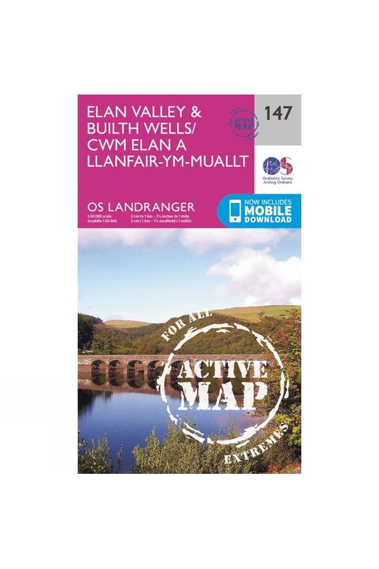 Ordnance Survey Active Landranger Map 147 Elan Valley and Builth Wells V16