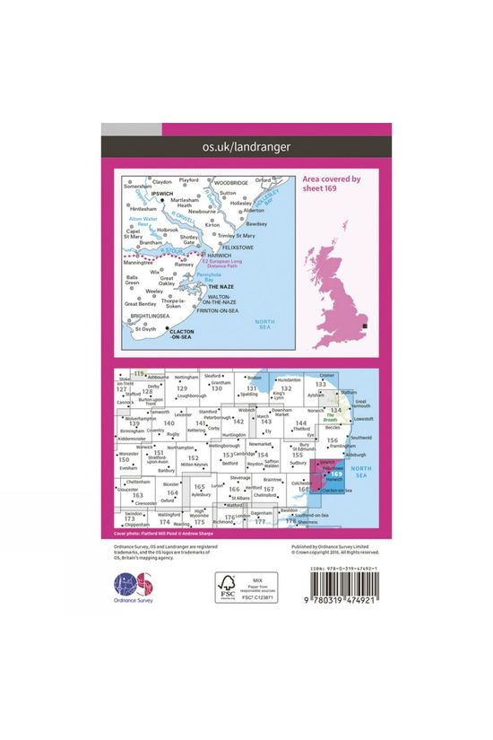 Ordnance Survey Active Landranger Map 169 Ipswich and The Naze V16