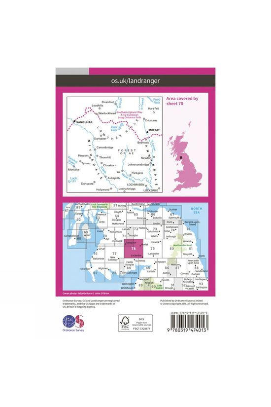 Ordnance Survey Active Landranger Map 78 Nithsdale and Annandale V16